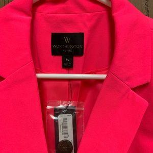Hot pink one button blazer